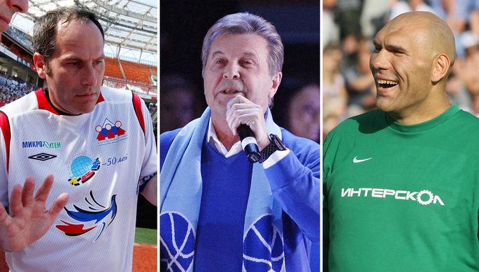 Михаил Шац, Лев Лещенко и Николай Валуев, коллаж «Газеты.Ru»
