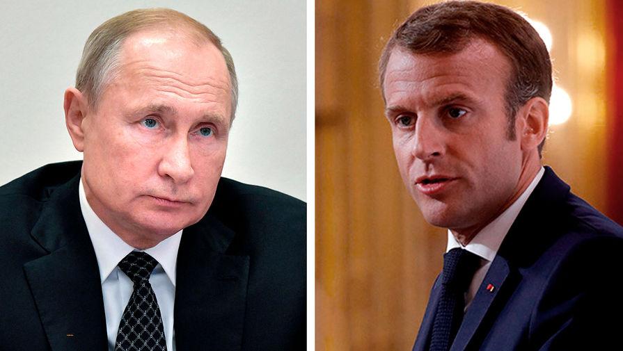 Президент России Владимир Путин и президент Франции Эммануэль Макрон (коллаж)