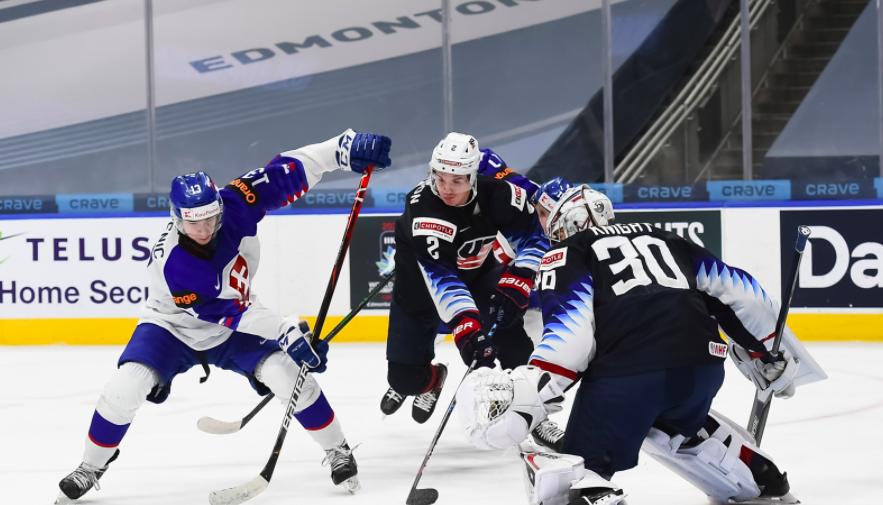 Эпизод матча сборной США на МЧМ-2021 по хоккею