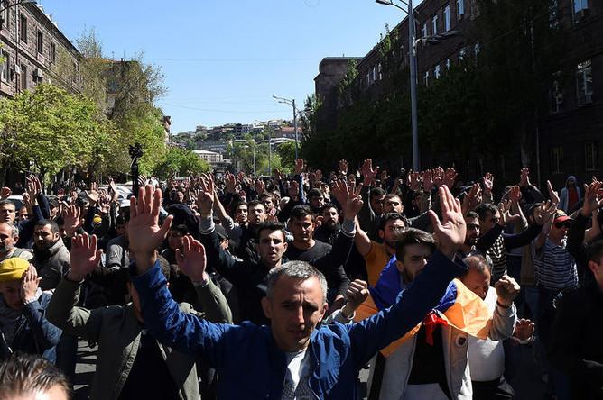 Ситуация в центре Еревана, 17 апреля 2018 года