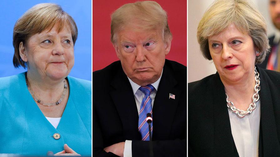 Канцлер ФРГ Ангела Меркель, президент США Дональд Трамп и экс-премьер Великобритании Тереза Мэй (коллаж)