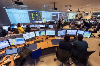 Пультовая детектора ATLAS 5 июня 2015 года. В этот день ускоритель вернулся к научной работе после модернизации и длительного периода испытаний