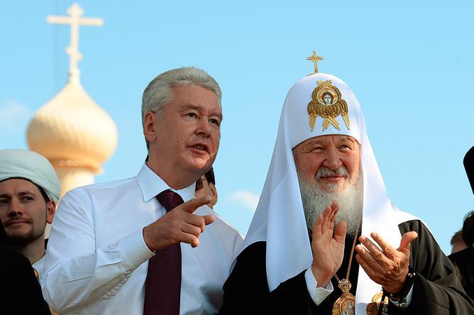 Сергей Собянин и Патриарх Кирилл открывают фестиваль «Русское поле» в Москве