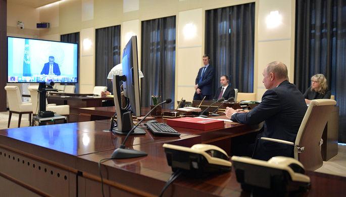Президент России Владимир Путин во время виртуального саммита G20, 26 марта 2020 года