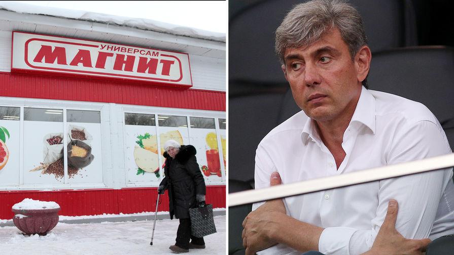 Магазин «Магнит» в Омске и основатель сети Сергей Галицкий, коллаж