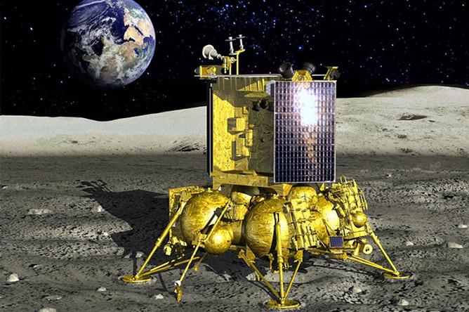 Визуализация аппарата «Луна-25» на поверхности Луны