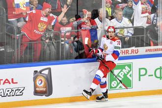Максим Шалунов в матче второго этапа Еврохоккейтура 2017/18 «Кубок Первого канала» между сборными командами России и Финляндии.