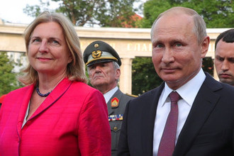 Президент России Владимира Путина и министр иностранных дел Австрии Карин Кнайсль