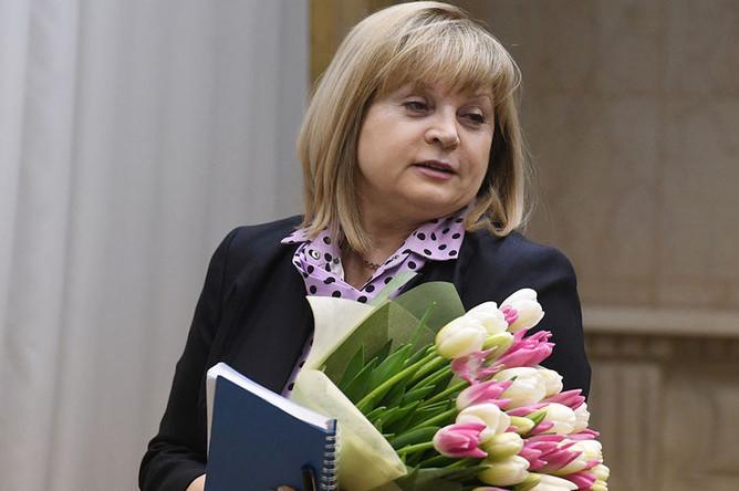 Председатель Центральной избирательной комиссии России Элла Памфилова перед началом встреч с лидерами непарламентских партий, 2017 год
