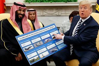 Наследный принц Саудовской Аравии Мухаммед ибн Салман Аль Сауд и президент США Дональд Трамп во время встречи в Овальном кабинете Белого дома, март 2018 года
