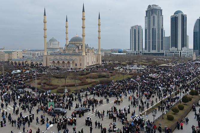Митинг «В единстве наша сила» в поддержку главы Чечни Рамзана Кадырова в Грозном