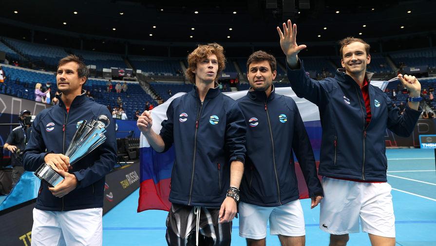 Российские теннисисты Даниил Медведев, Андрей Рублев, Аслан Карацев и Евгений Донской