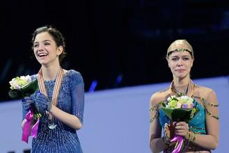 Евгения Медведева и Анна Погорилая на чемпионате мира по фигурному катанию в Бостоне