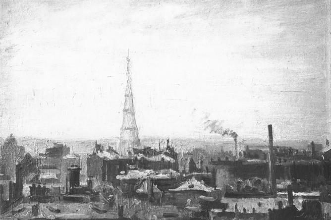 Шуховская башня на Шаболовке. Картина С.И. Маркина 1938 года
