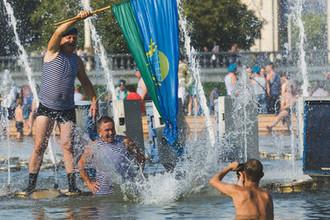 Во время празднования Дня ВДВ в Москве, 2 августа 2018 года