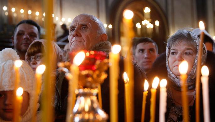 Рождественское богослужение в храме Христа Спасителя в Москве, 6 января 2018 года