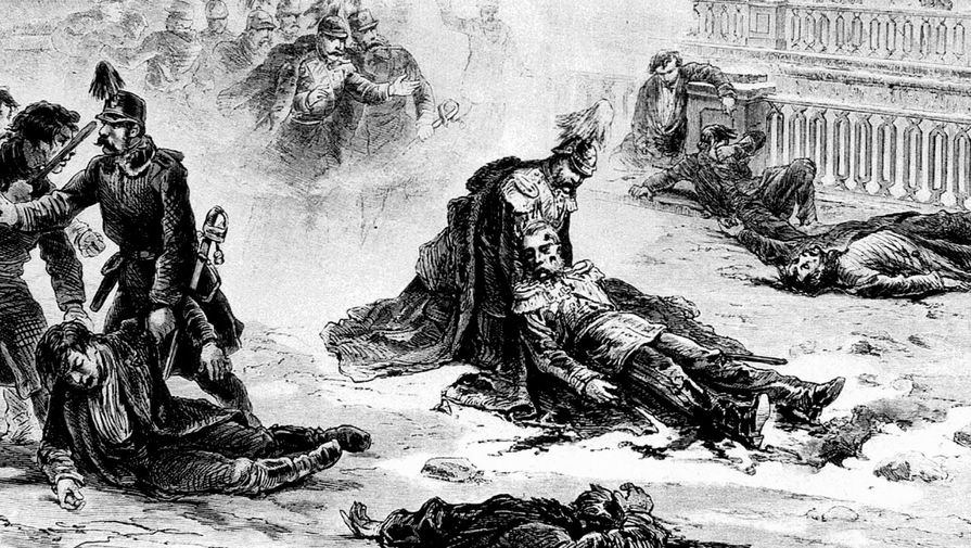 «Покушение на императора Александра II в Петербурге» (1981). Рисунок Г. Бролинга