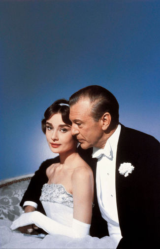 Актеры Одри Хепберн и Гэри Купер. Кадр из фильма «Любовь после полудня» (1957)