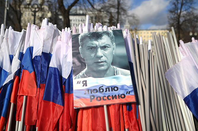 На марше памяти политика Бориса Немцова, приуроченном ко второй годовщине убийства политика