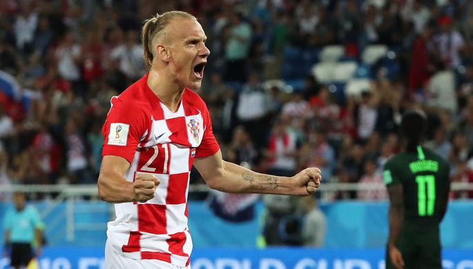 Домагой Вида (Хорватия) радуется забитому голу в матче группового этапа чемпионата мира по футболу между сборными Хорватии и Нигерии, 16 июня 2018 года