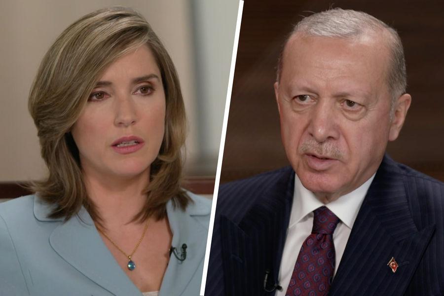 Президент Турции Реджеп Тайип Эрдоган во время интервью Маргарет Бреннан нателеканале CBS