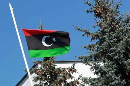 Флаг Национального переходного совета Ливии у здания посольства в Москве