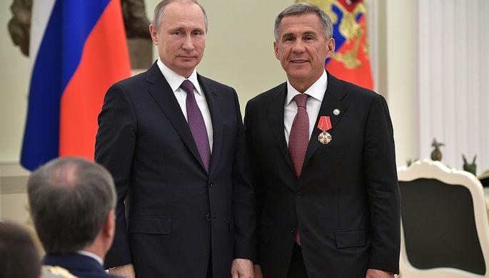 Президент России Владимир Путин и глава Татарстана Рустам Минниханов, 2017 год