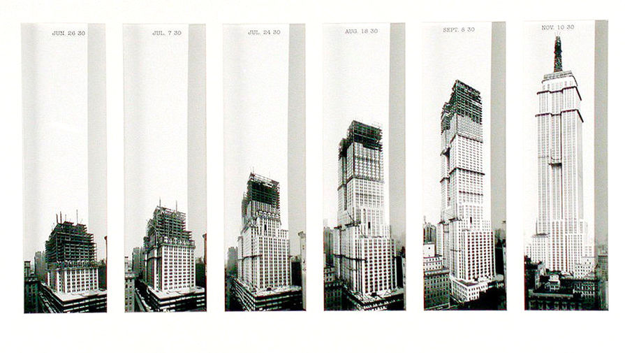 Небоскреб имеет 102 этажа и располагается в Нью-Йорке на острове Манхэттен по адресу Пятая авеню, 350. Его силуэт с широким основанием, низкими массивными уступами, свободностоящей башней и крылатым шпилем (443,2 м) узнаваем во всем мире. Архитектуру здания относят к стилю ар-деко. На фото: этапы строительства Эмпайр-стейт-билдинг