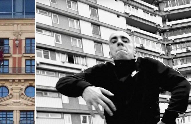 Фотография с Тверской и кадр из клипа Хаски «Панелька», коллаж