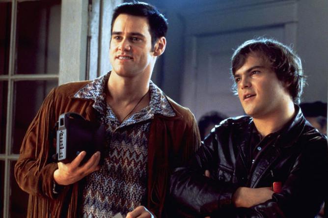 Актеры Джим Керри и Джек Блэк. Кадр из фильма «Кабельщик» (1996)
