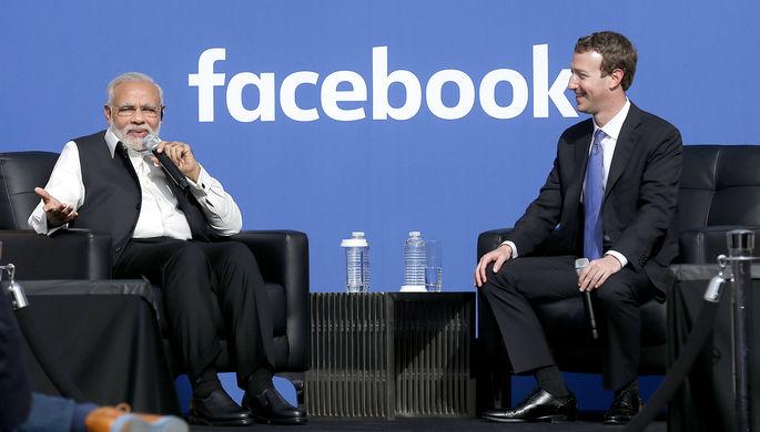 Премьер-министр Индии Нарендра Моди и основатель Facebook Марк Цукерберг