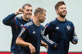Смолов, Дзюба и Березуцкий на тренировке сборной России