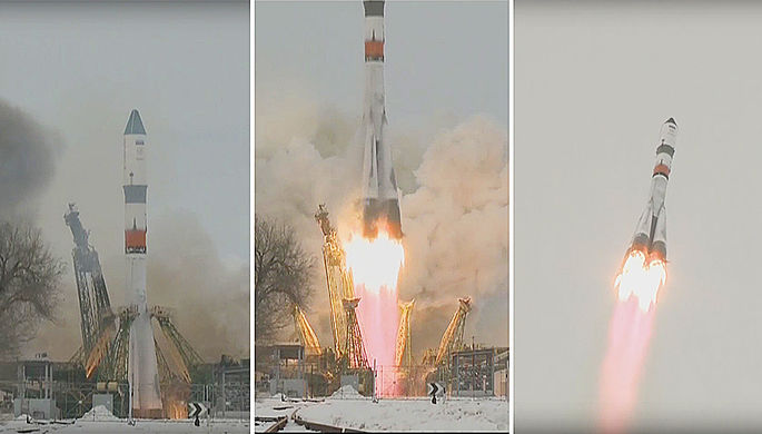 Кадры из трансляции запуска ракеты «Союз-2.1а» с кораблем «Прогресс МС-08» с космодрома Байконур, 13 февраля 2018 года