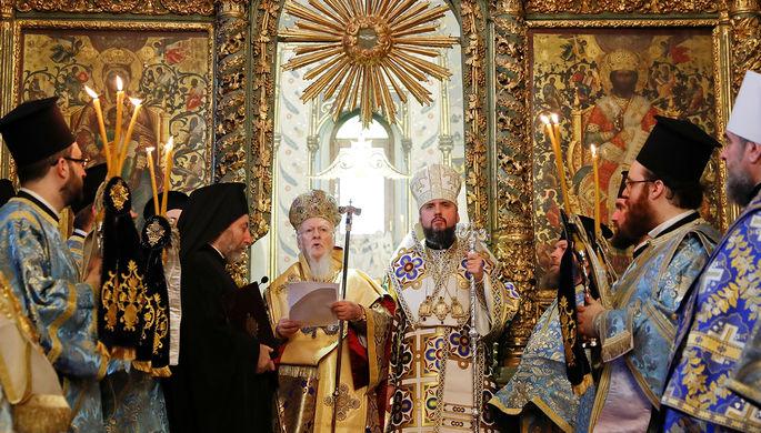 Митрополит Киевский и всея Украины Епифаний во время торжественной церемонии в Соборе Святого Георгия в Стамбуле, 6 января 2019 года