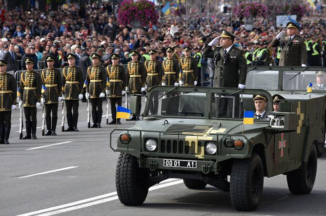 Министр обороны Украины Степан Полторак на параде в честь Дня независимости в Киеве, 2017 год