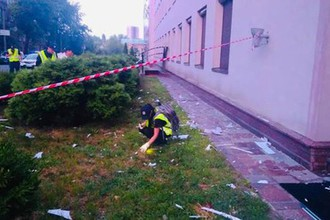 Последствия обстрела канала «112 Украина» из гранатомета
