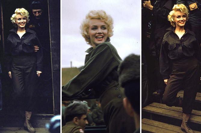 Мэрилин Монро приветствует американских солдат в Южной Корее в ходе Корейской войны, 1952 год