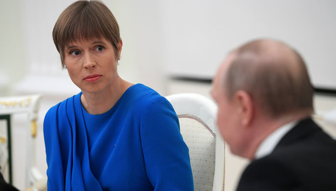 Президент Эстонии Керсти Кальюлайд во время встречи с президентом РФ Владимиром Путиным, 2019 год