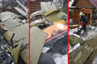 Последствия крушения легкомоторного самолета в СНТ «Отдых-3» в Подмосковье, 28 февраля 2019 года, коллаж