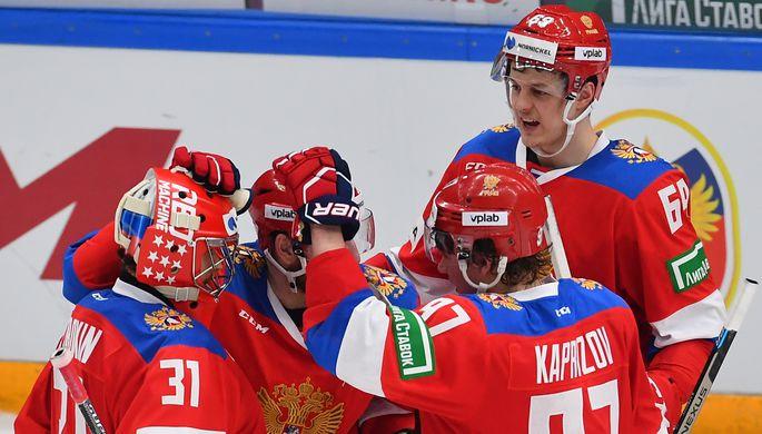 Игроки сборной России Илья Сорокин, Кирилл Капризов и Никита Лямкин радуются победе в матче Кубка Первого канала против Чехии