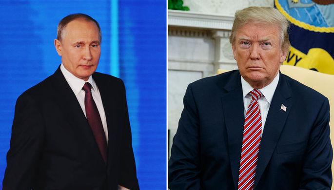 Президент РФ Владимир Путин и президент США Дональд Трамп, коллаж «Газеты.Ru»