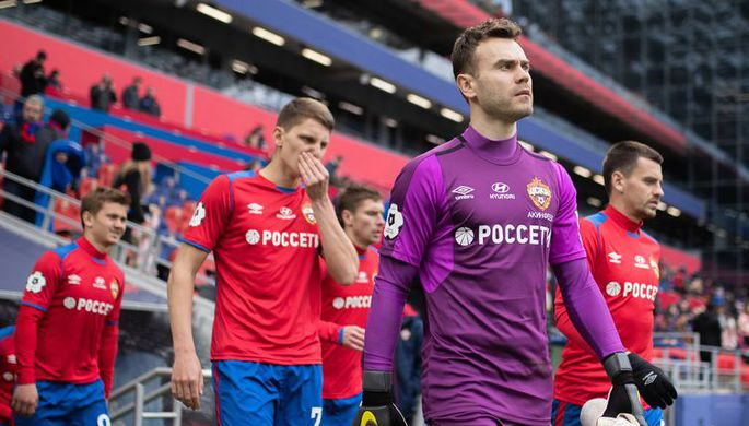 Московский ЦСКА выходит на матч РПЛ