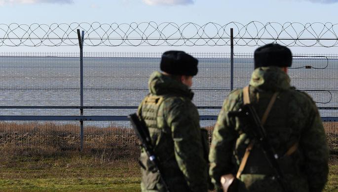 Российские пограничники на границе с Украиной