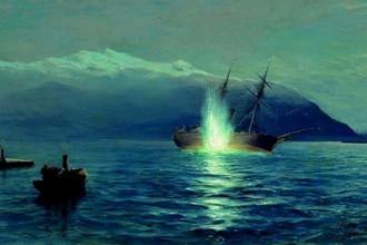Картина Л. Ф. Лагорио «Потопление катерами парохода «Великий князь Константин» турецкого парохода «Интибах» на Батумском рейде в ночь на 14 января 1878 г.»