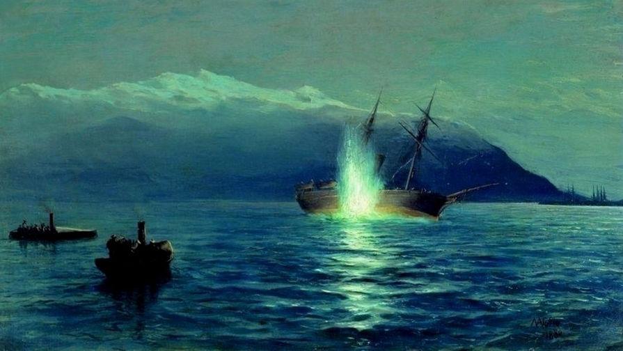 Картина Л. Ф. Лагорио «Потопление катерами парохода «Великий князь Константин» турецкого...
