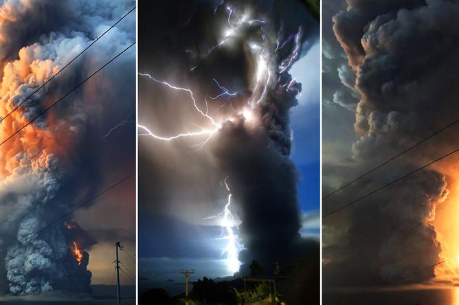 Выброс пепла вулканом Таал на Филиппинах, 13 января 2020 года (коллаж)