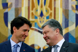 Президент Украины Петр Порошенко и премьер-министр Канады Джастин Трюдо в Киеве, 2016 год