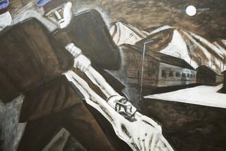 Репродукция картины художника Игоря Обросова «Зомби ГУЛАГа» на выставке «Сталинские репрессии», 2003 год