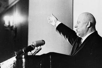 Первый секретарь ЦК КПСС Никита Сергеевич Хрущев выступает на совещании работников сельскохозяйственных областей и автономных республик Северо-Запада страны, 1955 год