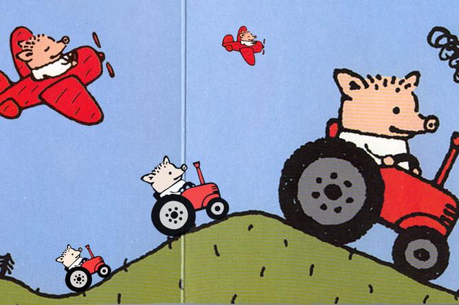 Иллюстрации Александра Райхштейна к книге Людмилы Петрушевской «Поросенок Петр едет в гости», коллаж «Газеты.Ru»